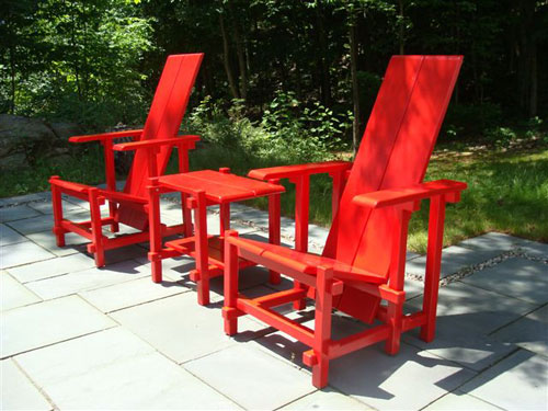 Red Garden Chairs And Table