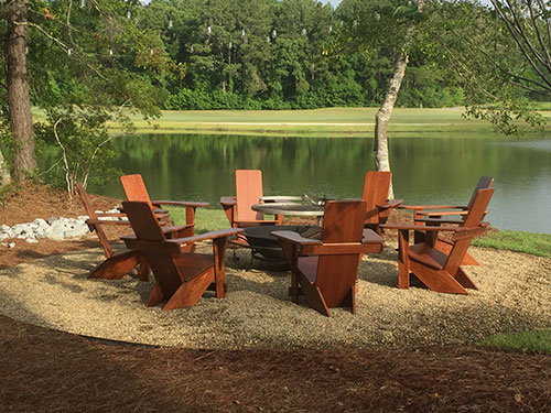 Stained Westport Chairs and a stunning fire pit.