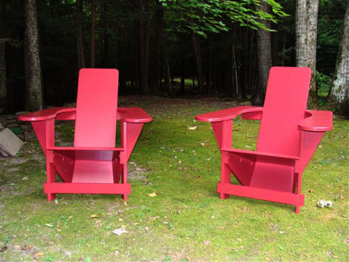 Red Westport Chairs in the Catskills