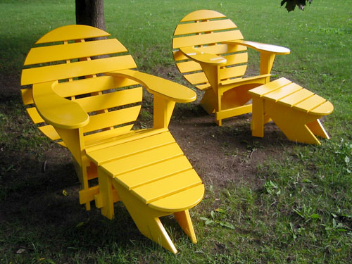 Yellow Lodge Chairs and Foot Stools