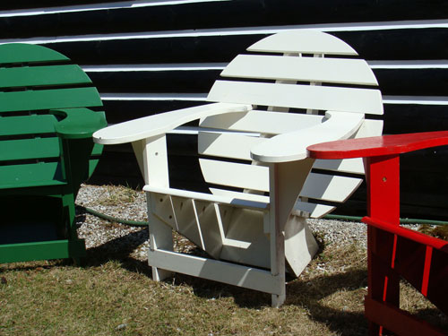 Green, White and Red Lodge Chairs