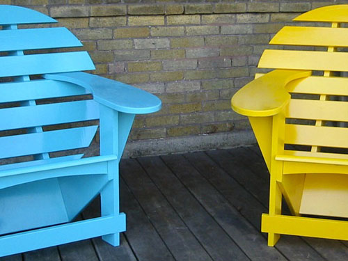 Turquoise and Yellow Lodge Chairs